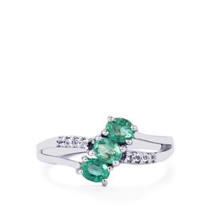 Zambian Emerald Ring with White Topaz in Sterling Silver 0.77ct