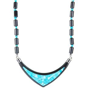 """""""The Nefertiti Necklace"""" Sleeping Beauty Turquoise and Black Jade Necklace with Black Tourmaline in Sterling Silver 162.50cts"""