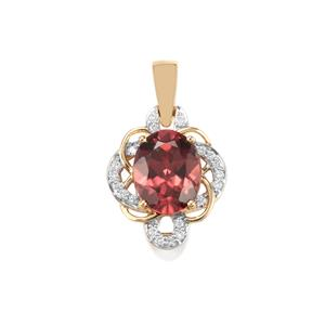 Zanzibar Zircon Pendant with Diamond in 18K Gold 4.31cts