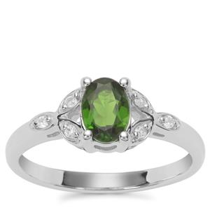 Chrome Diopside Ring with White Zircon in Sterling Silver 0.85ct