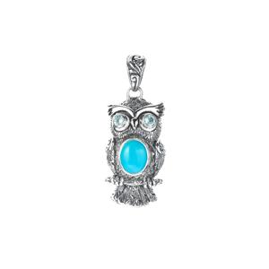 Sleeping Beauty Turquoise Samuel B Owl Pendant with Swiss Blue Topaz  in Sterling Silver 2.11cts