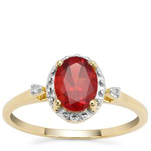 Red Labradorite Ring with Diamond in 9K Gold 0.94ct