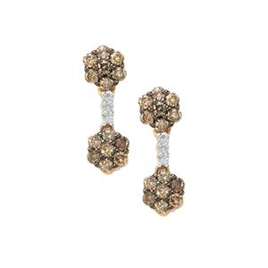 3/4ct Champagne & White Diamond 9K Gold Earrings