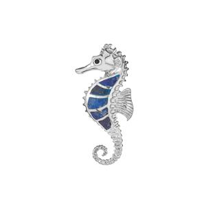 Sar-i-Sang Lapis Lazuli Seahorse Pendant  in Sterling Silver 9cts