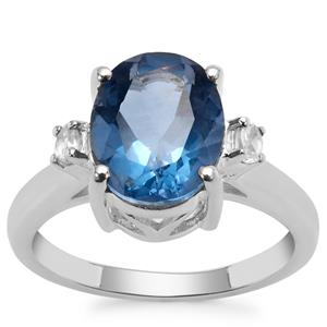 Colour Change Fluorite Ring with White Zircon in Sterling Silver 4.47cts