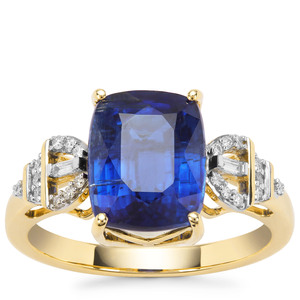 Nilamani Ring with Diamond in 18K Gold 4.39cts