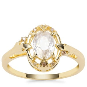 Singida Tanzanian Zircon Ring with Champagne Diamond in 9K Gold 1.44cts