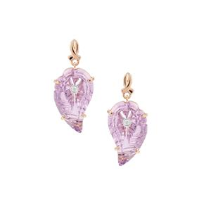 Lehrer Flame Cut Rose De France Amethyst Earrings with Diamond in 9K Rose Gold 17.20cts