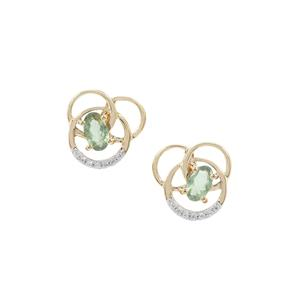 Alexandrite Earrings with White Zircon in 9K Gold 0.54ct