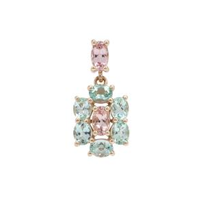Aquaiba™ Beryl Pendant with Cherry Blossom™ Morganite in 9K Gold 1.38cts