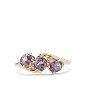 Mahenge Purple Spinel Ring with Diamond in 9K Gold 1.11cts