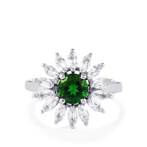 Chrome Diopside & White Topaz Sterling Silver Ring ATGW 2.42cts
