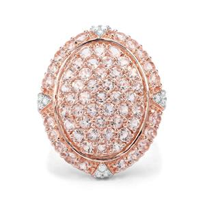 Mozambique Morganite & White Zircon Rose Midas Ring ATGW 4.13cts