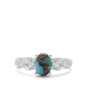 Egyptian Turquoise & White Zircon Sterling Silver Ring ATGW 1.39cts