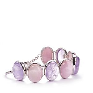 Kunzite Sarah Bennett Bracelet with Amethyst in Sterling Silver 97.26cts