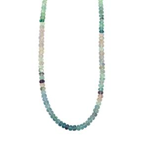 81ct Multi-Colour Fluorite Sterling Silver Graduated Bead Necklace