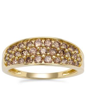 Champagne Diamond Ring in 9K Gold 1ct