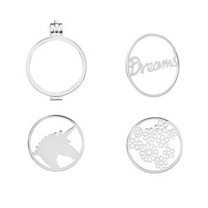 Sterling Silver Locket with Unicorn, Dreams and Flower Disc.