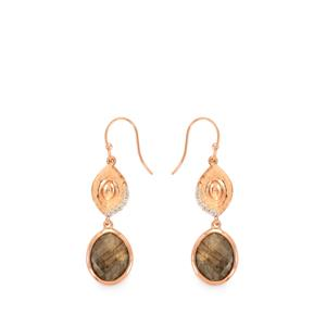 Labradorite Earrings with White Topaz in Rose Gold Plated Sterling Silver 10.37cts