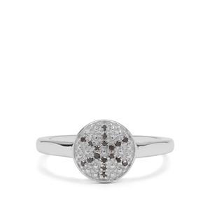 Black Diamond Ring in Sterling Silver 0.05ct
