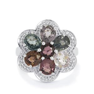 Burmese Multi-Color Spinel Ring with White Topaz in Sterling Silver 5.82cts