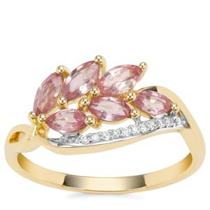 Padparadscha Sapphire Ring with Diamond in 9K Gold 1.12cts