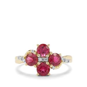 Cruzeiro Rubellite Ring with Diamond in 10K Gold 1.47cts