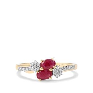 Burmese Ruby & White Zircon 9K Gold Ring ATGW 0.66cts