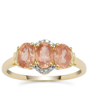 Peach Parti Oregon Sunstone Ring with Diamond in 9K Gold 1.37cts