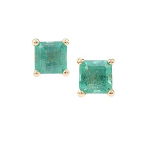 Zambian Emerald Earrings  in 9k Gold 0.89cts