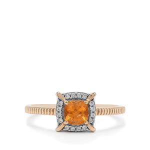 Mandarin Garnet Ring with White Zircon in 9K Gold 0.80ct
