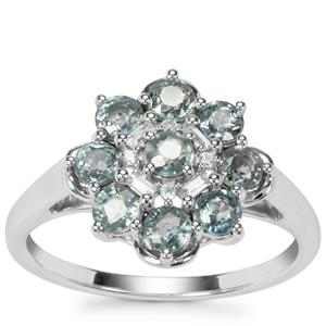 Umba Sapphire Ring with White Zircon in Sterling Silver 1.59cts