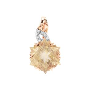 Wobito Snowflake Cut Bahia Rutilite Pendant with Diamond in 9K Rose Gold 4.27cts