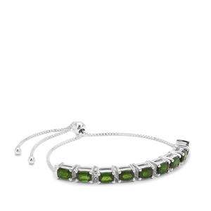 4.95ct Chrome Diopside Sterling Silver Slider Bracelet