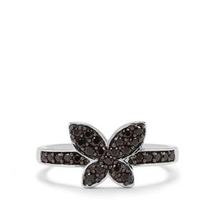 0.50ct Black Spinel Sterling Silver Ring