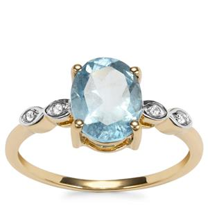 Mozambique Aquamarine Ring with White Zircon in 9K Gold 1.65cts