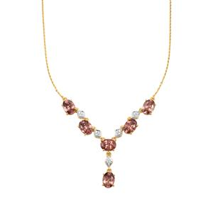 Zanzibar Zircon Necklace with Diamond in 18K Gold 10.72cts