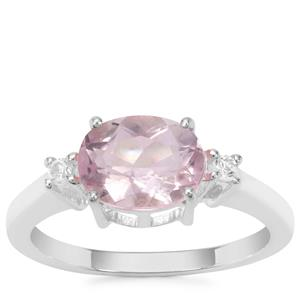 Natural Pink Fluorite Ring with White Zircon in Sterling Silver 2.37cts