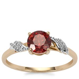 Zanzibar Zircon Ring with Diamond in 10K Gold 1.29cts