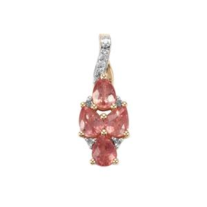 Padparadscha Sapphire Pendant with Diamond in 9K Gold 1.31cts