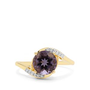 Blueberry Quartz Ring with White Diamond in 9K Gold 1.85cts