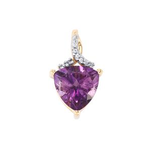 Moroccan Amethyst Pendant with White Zircon in 10k Gold 3.14cts