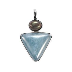 Aquamarine Sarah Bennett Pendant with Labradorite in Sterling Silver 18.19cts