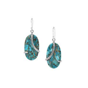 Copper Mojave Turquoise Earrings in Sterling Silver 34cts