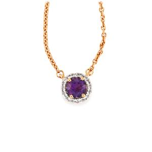 Amethyst Necklace with White Zircon in Rose Gold Vermeil 0.73cts