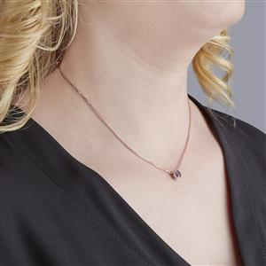 Amethyst Slider Necklace with White Zircon in Rose Gold Vermeil 0.73cts