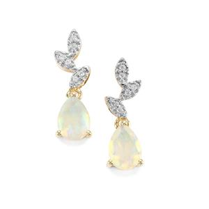 Ethiopian Opal Earrings with White Zircon in 9K Gold 0.97ct