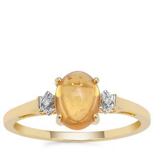 Mandarin Garnet Ring with Diamond in 9K Gold 1.92cts