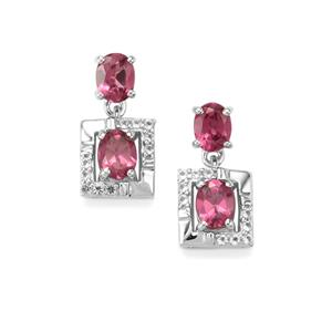 Mahenge Garnet Earrings with White Topaz in Sterling Silver 1.74cts