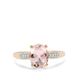 Alto Ligonha Morganite Ring with White Zircon in 9K Gold 1.64cts